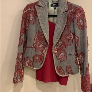 Gorgeous blazer with red lace details